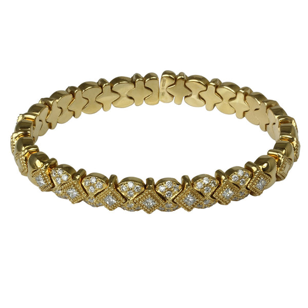 14k Gold Byzantine Diamond Flex Bracelet