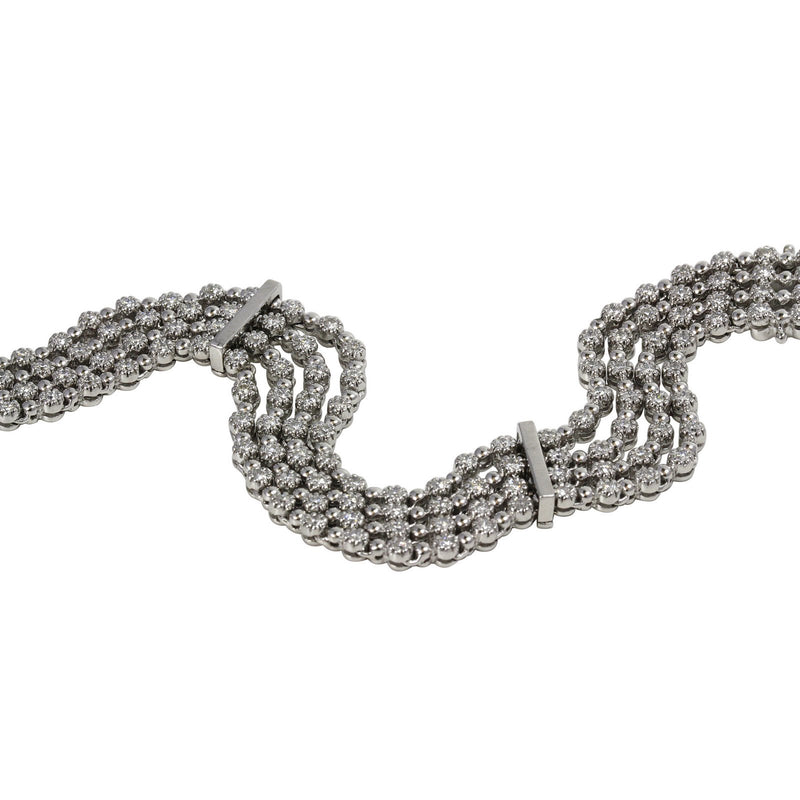 14k Gold Multi Row Diamond Link Bracelet