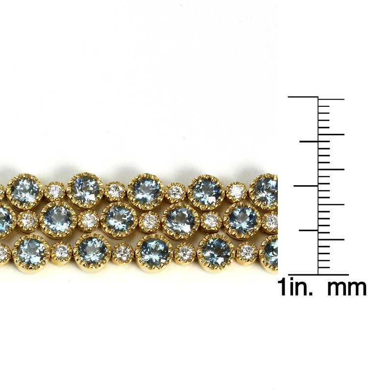 14k Gold 7'' Aquamarine & Diamond Bracelet
