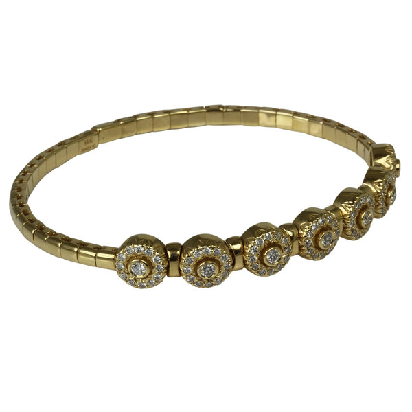 14k Gold Byzantine Diamond Station Flex Bracelet