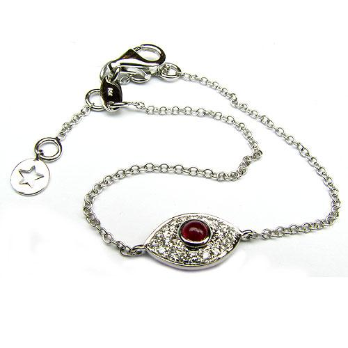 14k Gold 7'' Ruby & Diamond Evil Eye Bracelet