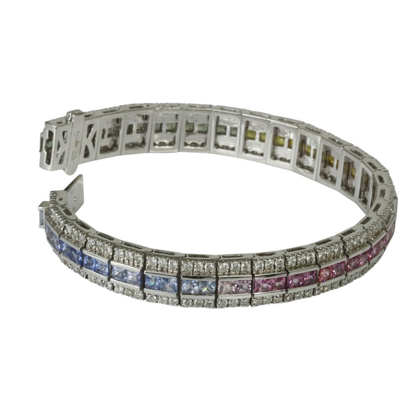 18k Gold Art Deco Multi Gemstone & Diamond Bracelet