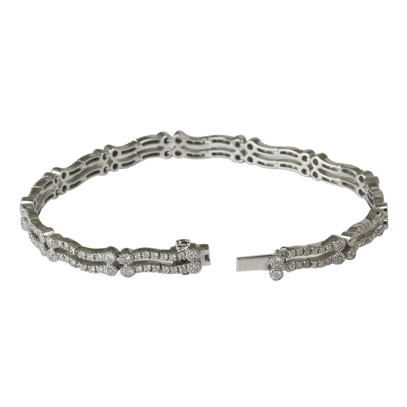 18k Gold Double Strand Wave Diamond Flex Bracelet