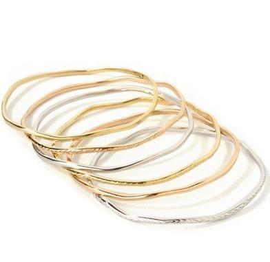 14k Textured Gold Wavy Bangle Bracelet
