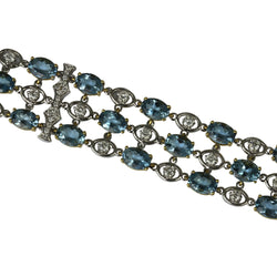 18k Two Toned Gold Aquamarine & Diamond Bracelet