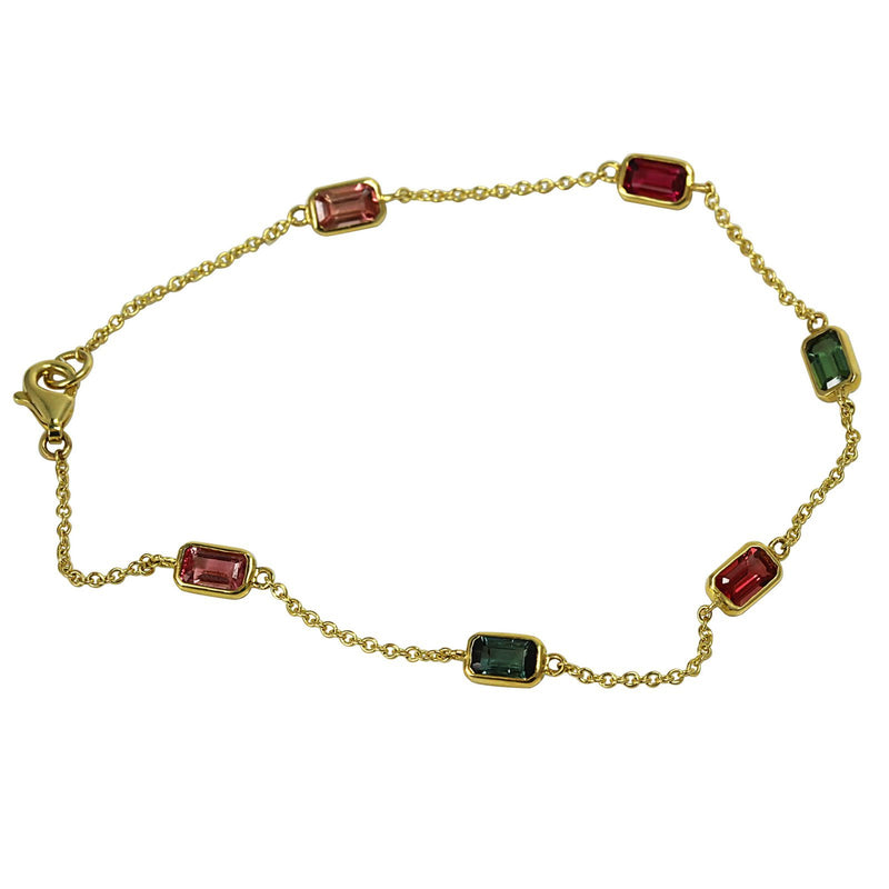 14k Gold Tourmaline Light Chain Bracelet