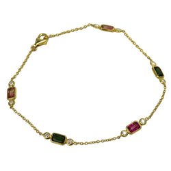 14k Gold Tourmaline & Diamond Light Chain Bracelet
