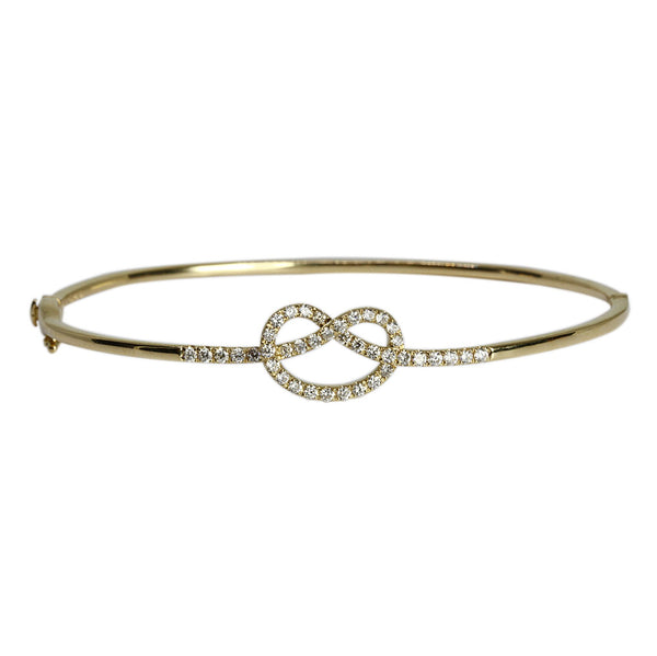 14k Gold Diamond Pretzel Bangle Bracelet