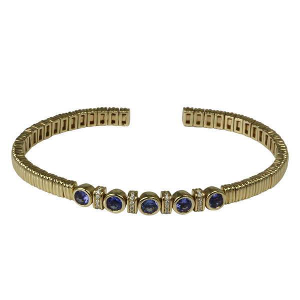 14k Gold Blue Sapphire & Diamond Wire Texture Flex Bracelet