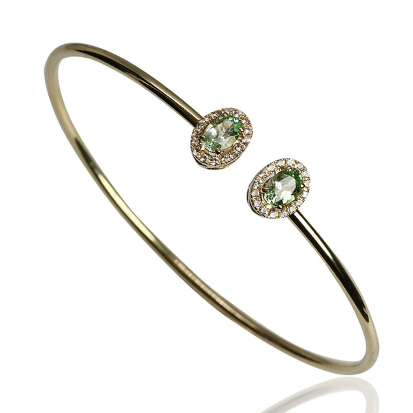 14k Gold Classic Mint Garnet & White Sapphire Bangle Bracelet