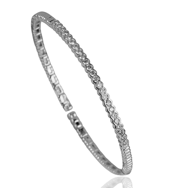 14k Gold Diamond Row Flex Bracelet
