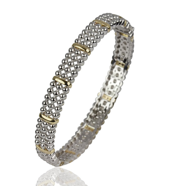 14k Two Toned Gold Diamond Bead Bangle Bracelet