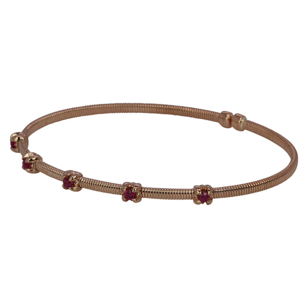 14k Gold & Ruby Flex Bangle Bracelet