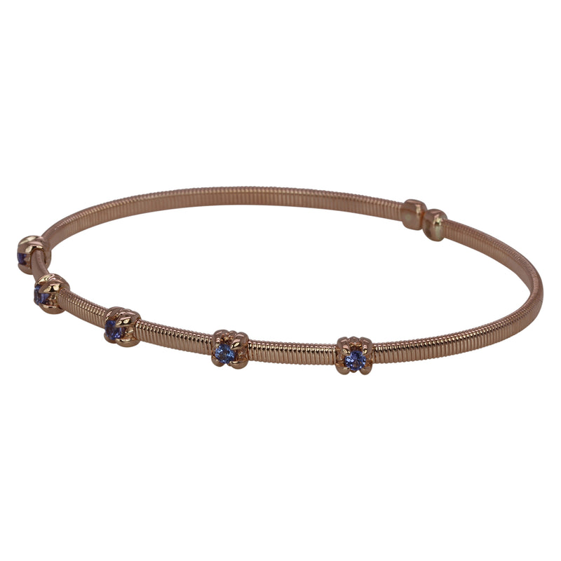 14k Gold & Tanzanite Flex Bangle Bracelet