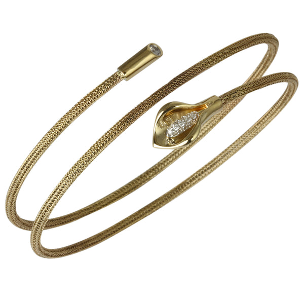 14k Gold Tulip Double Mesh Wire Wrap Bangle Bracelet