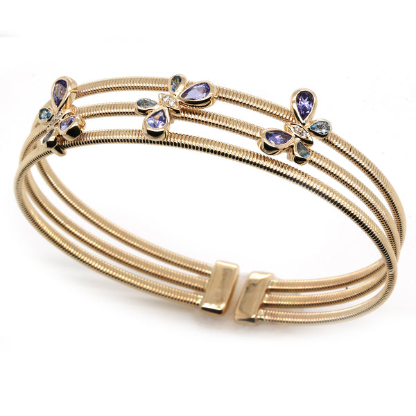 14k Gold Aquamarine & Tanzanite Butterfly Trio Flex Bangle Bracelet