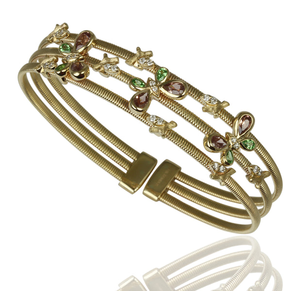 14k Gold Gemstone & Diamond Butterfly 3-Row Bangle Bracelet