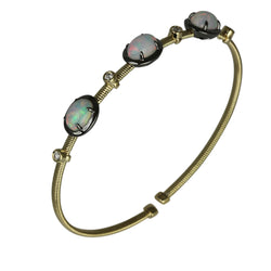 14k Gold Wire Wrap Opal Trio Flex Bangle