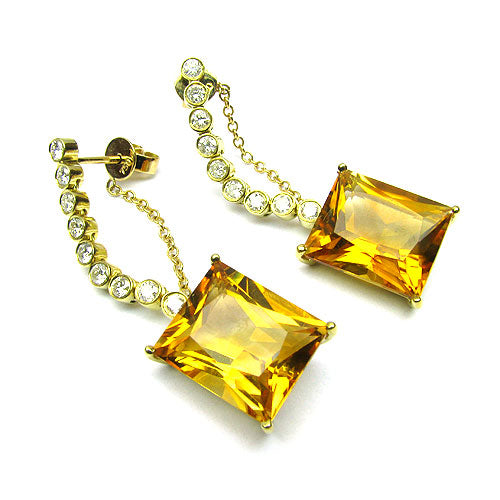18k Gold 1 1/2'' Citrine & Diamond Drop Earrings