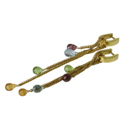 18k Gold Chain Multi-color Gemstone Dangle Earrings