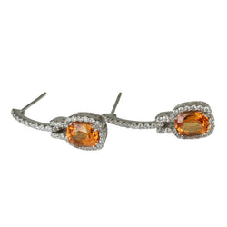18k Gold 1 1/8'' Spessartite & Diamond Drop Earrings