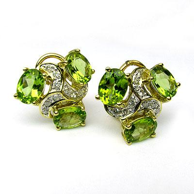 18k Gold Peridot & Diamond Statement Stud Earrings