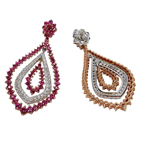 14k Gold Ruby & Diamond Dancing Dangle Earrings
