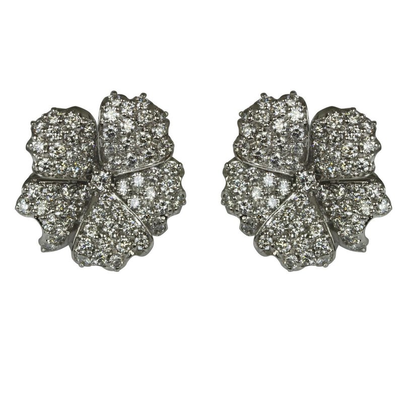 14k Gold Diamond Encrusted Blooming Flower Earrings
