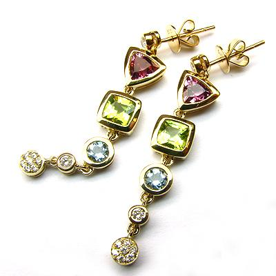 14k Gold 1 3/8'' Multi Gemstone Dangle Earrings