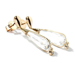 14k Yellow Gold 1 5/8'' White Quartz & Diamond Earring