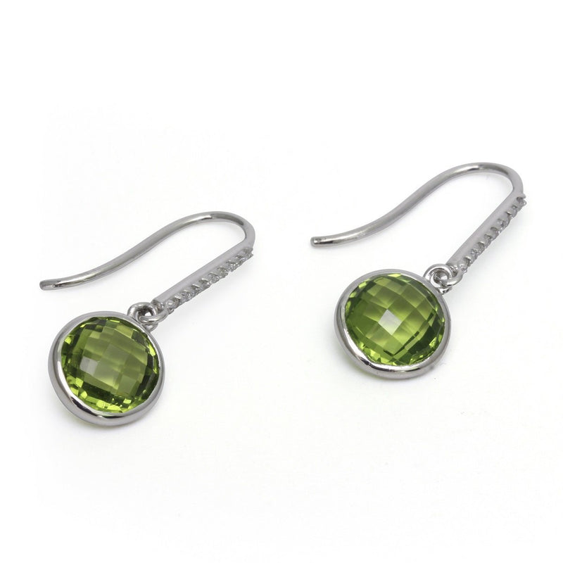 14k Gold Peridot & Diamond French Hook Earrings