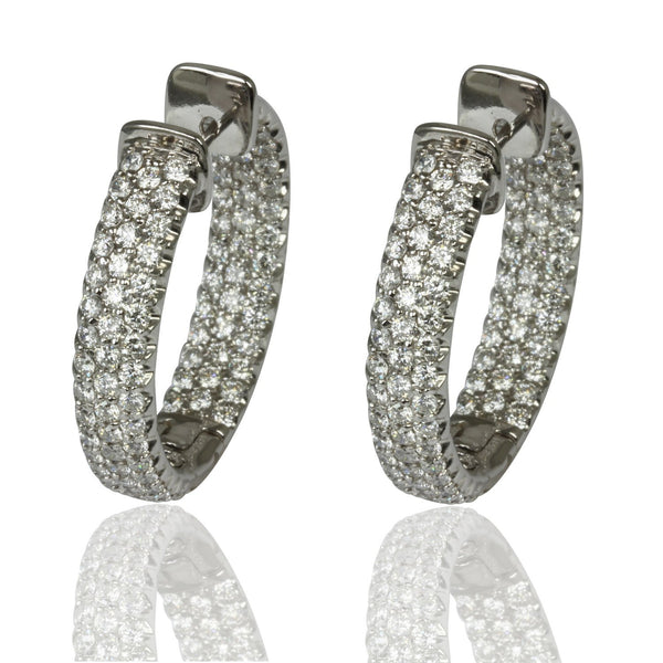 14k Gold 1 1/8'' Diamond Hoop Earrings