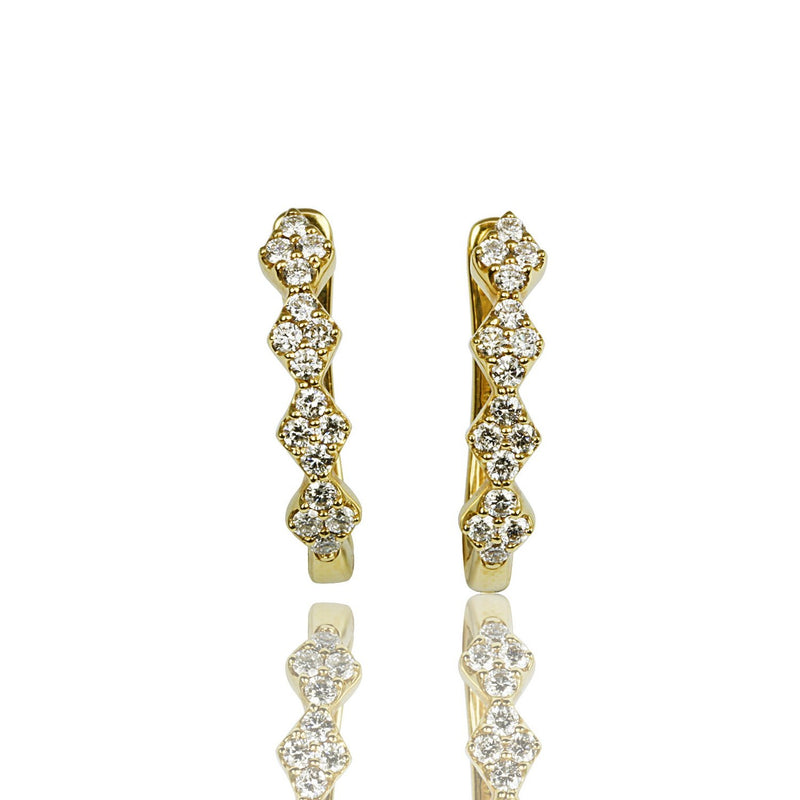 14k Gold Dainty Hinge Back Diamond Hoop Earrings
