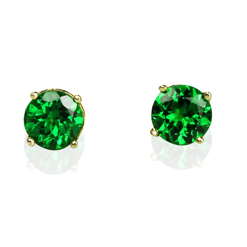 14k Gold 4.5mm Tsavorite Stud Earrings
