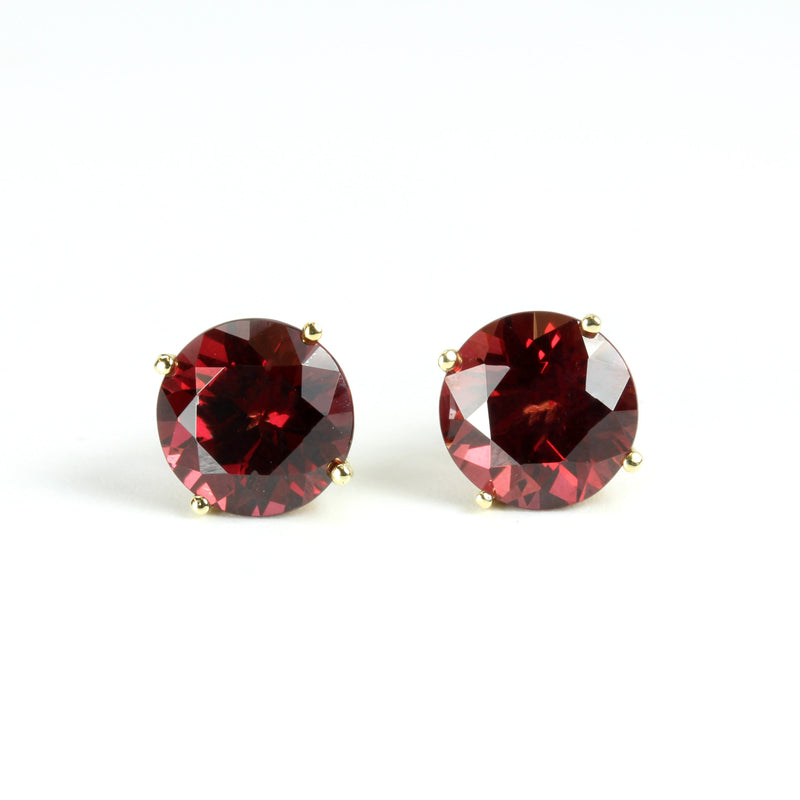 14k Gold 8mm Rhodolite Stud Earrings