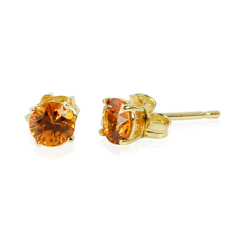 14k Gold 4mm Spessartite Stud Earrings