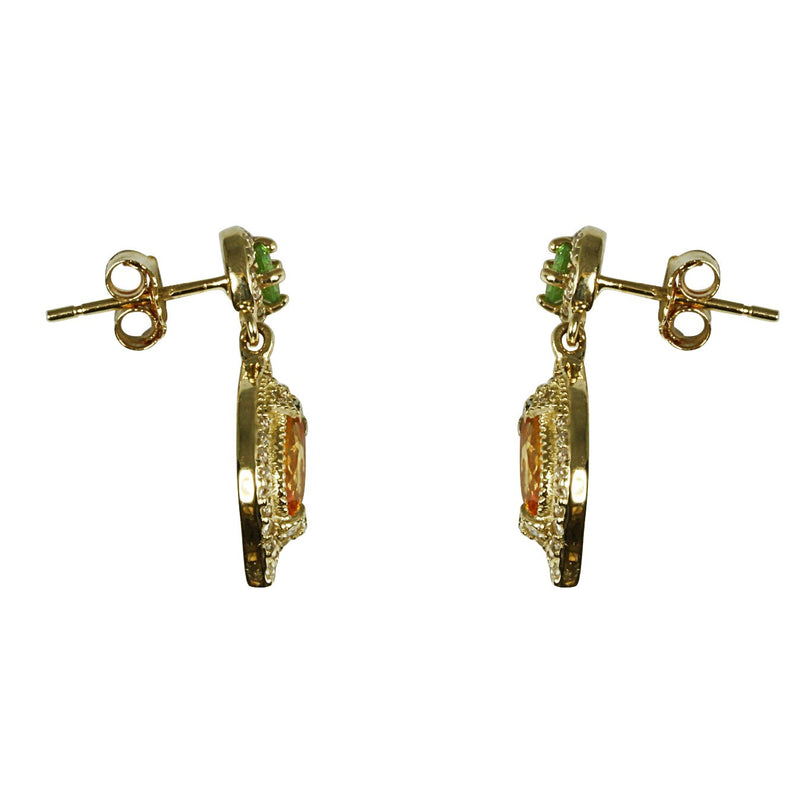 14k Gold Tsavorite & Spessartite Earrings