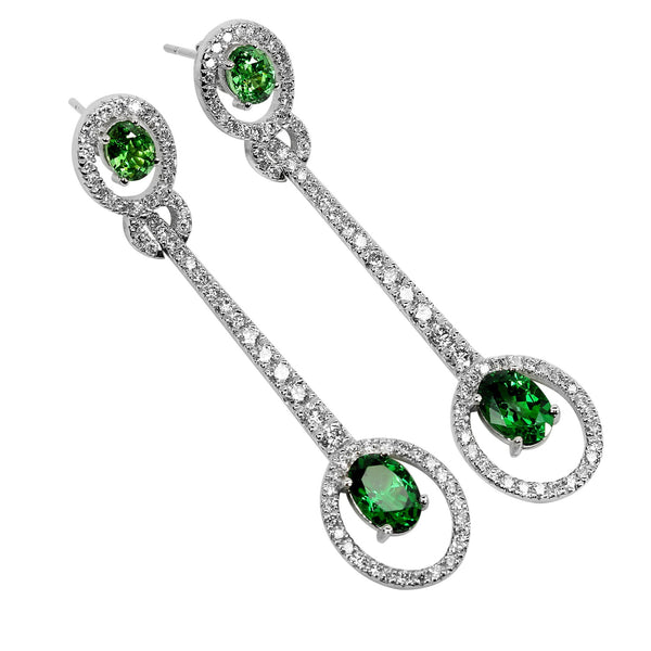 14k Gold Dramatic Tsavorite Dangling Earrings