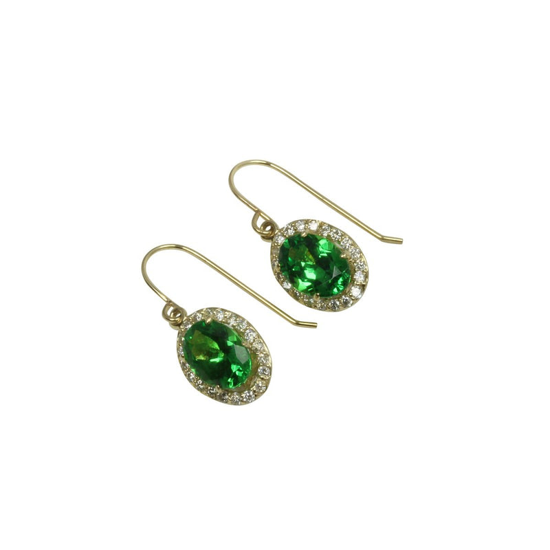 14k Gold Tsavorite & Diamond Oval Dangle Earrings