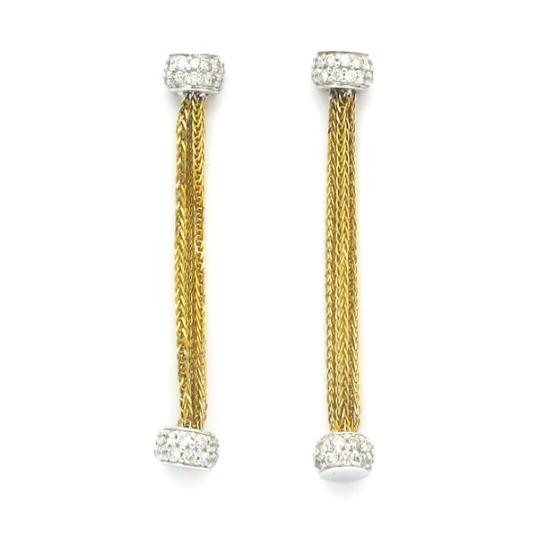 "18k Gold 1 5/8"" Diamond Chain Dangle Earrings"