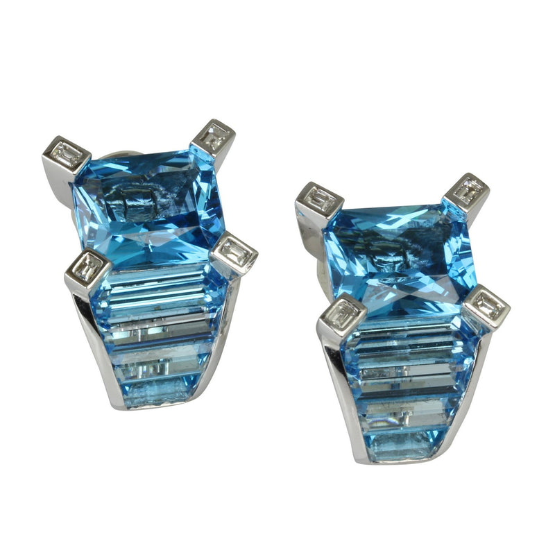 18k Gold 7/8'' Blue Topaz & Diamond Earrings