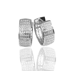 18k Gold 1/2'' 5 Row Diamond Huggie Earrings