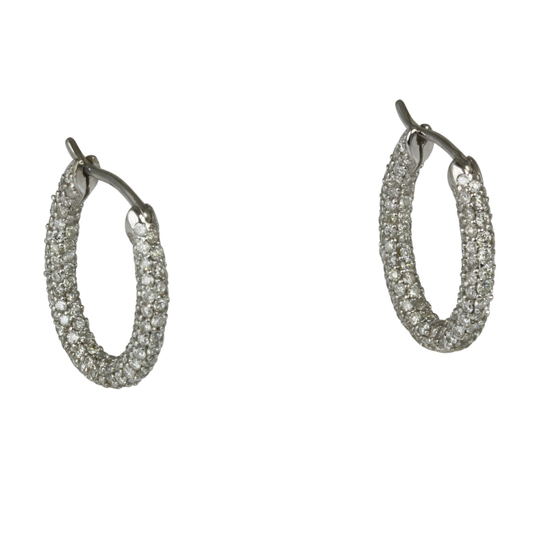 18k Gold 3/4'' Pave Diamond Oval Hoop Earrings