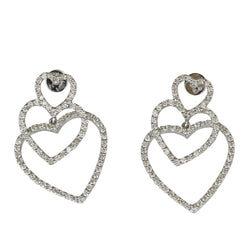 18k Gold 3 Hearts Diamond Earrings