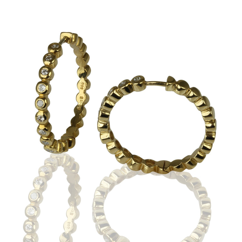 14k Gold 15/16'' Bubble Bezel Diamond Hoop Earrings