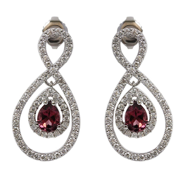 18k Gold 1 1/8'' Raspberrry Rhodolite & Diamond Figure Eight Earrings