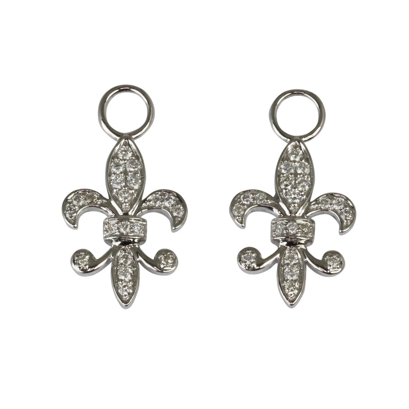 18k White Gold 7/8'' Fleur De Lis Diamond Charm & Earrings