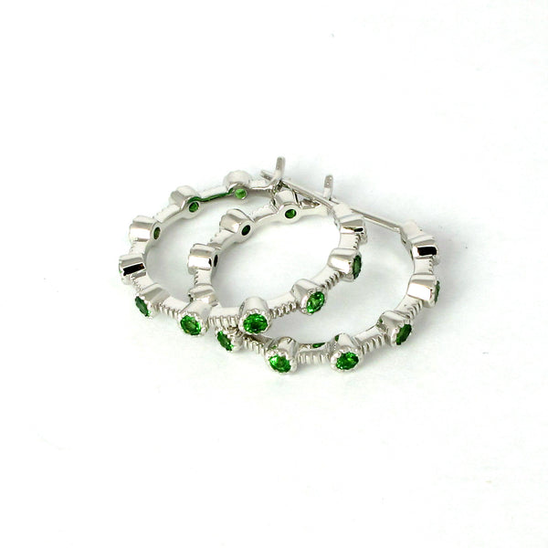 18k Gold 7/8'' Tsavorite Hoop Earrings