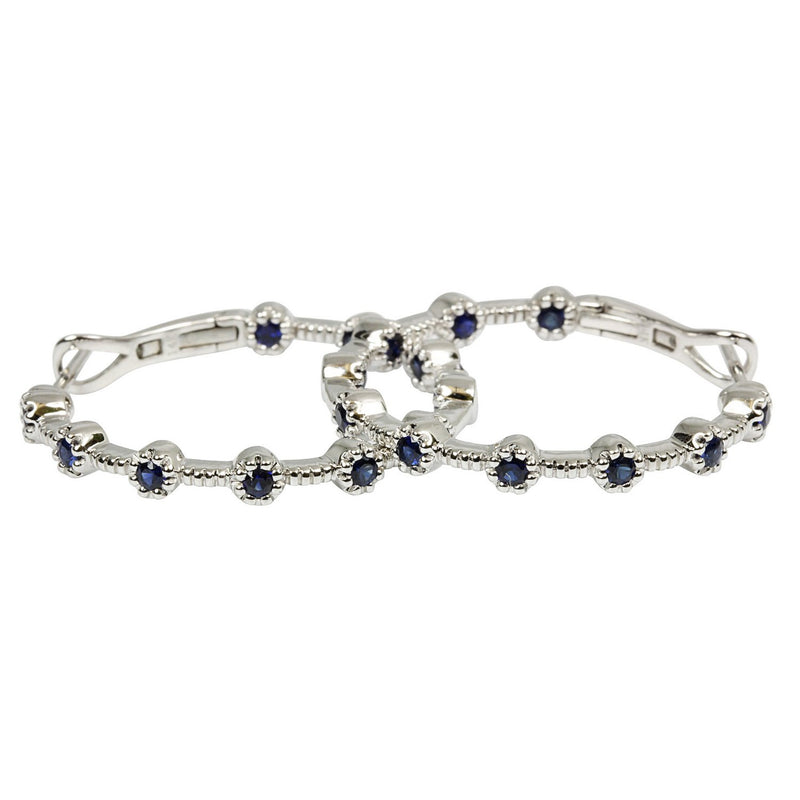 18k White Gold Blue Sapphire Hoop Earrings