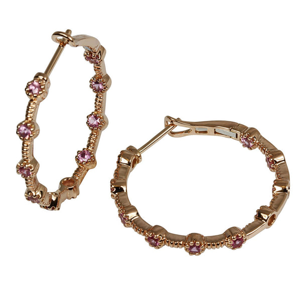 18k Rose Gold Pink Sapphire Hoop Earrings